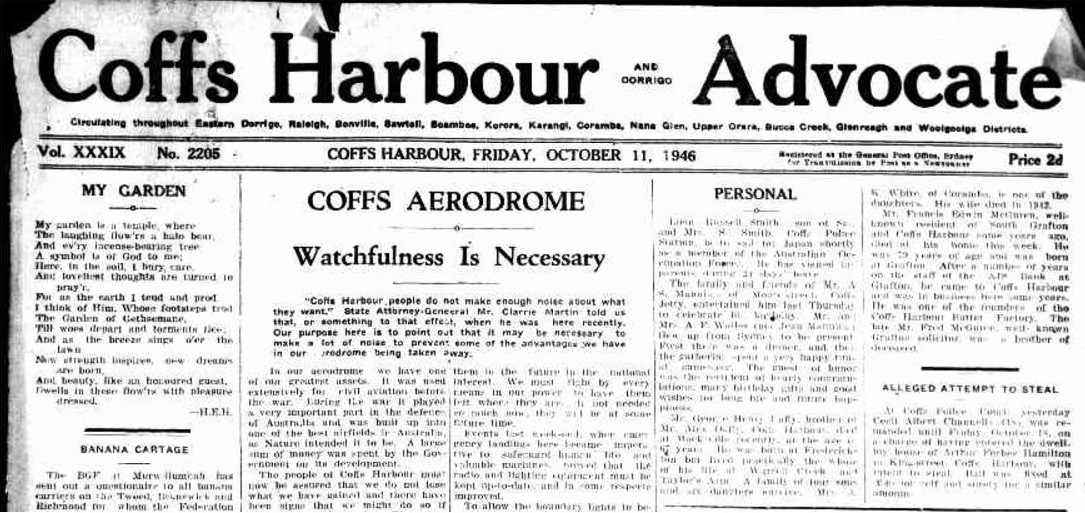 AdvocateFrontMasthead11October1946