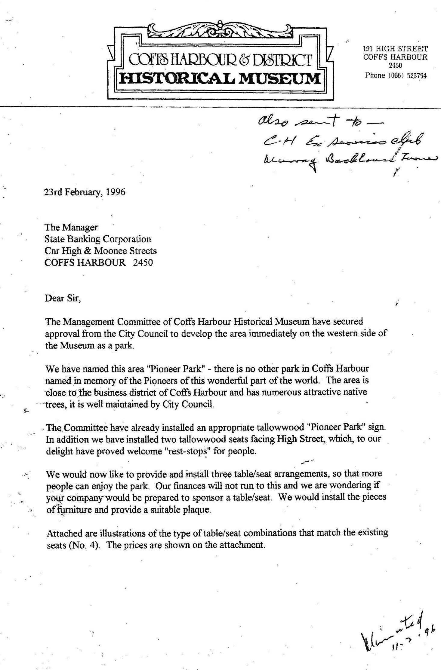 Duke St Pioneer Park Letter - 23 Feb 1996